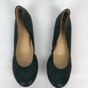 J.Crew ballet green leather round toe flats work